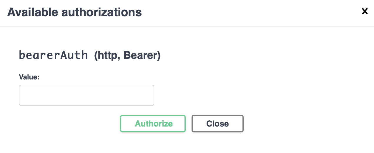 The authorization modal window.