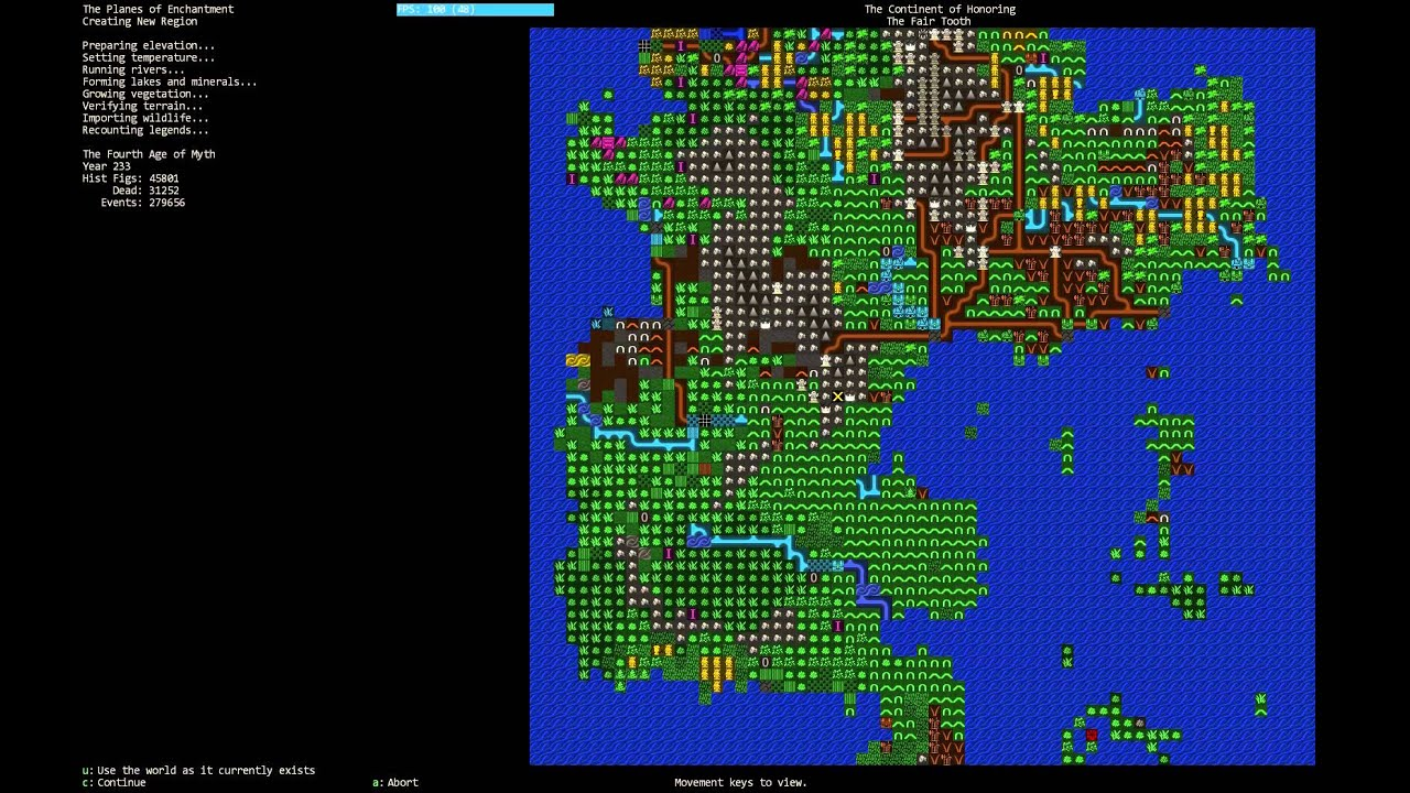 The visual appearence is not the streght of Dwarf Fortress. But inside this mess of characters there are hundreds of deep convoluted generated stories.