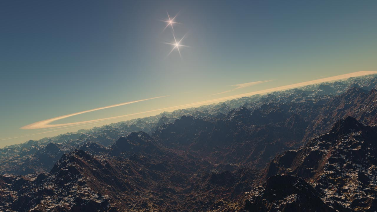 The amazing view of a generated landscape in Space Engine 0.9
