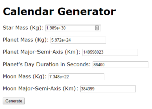 The Calendar Generator interface in the demo project.